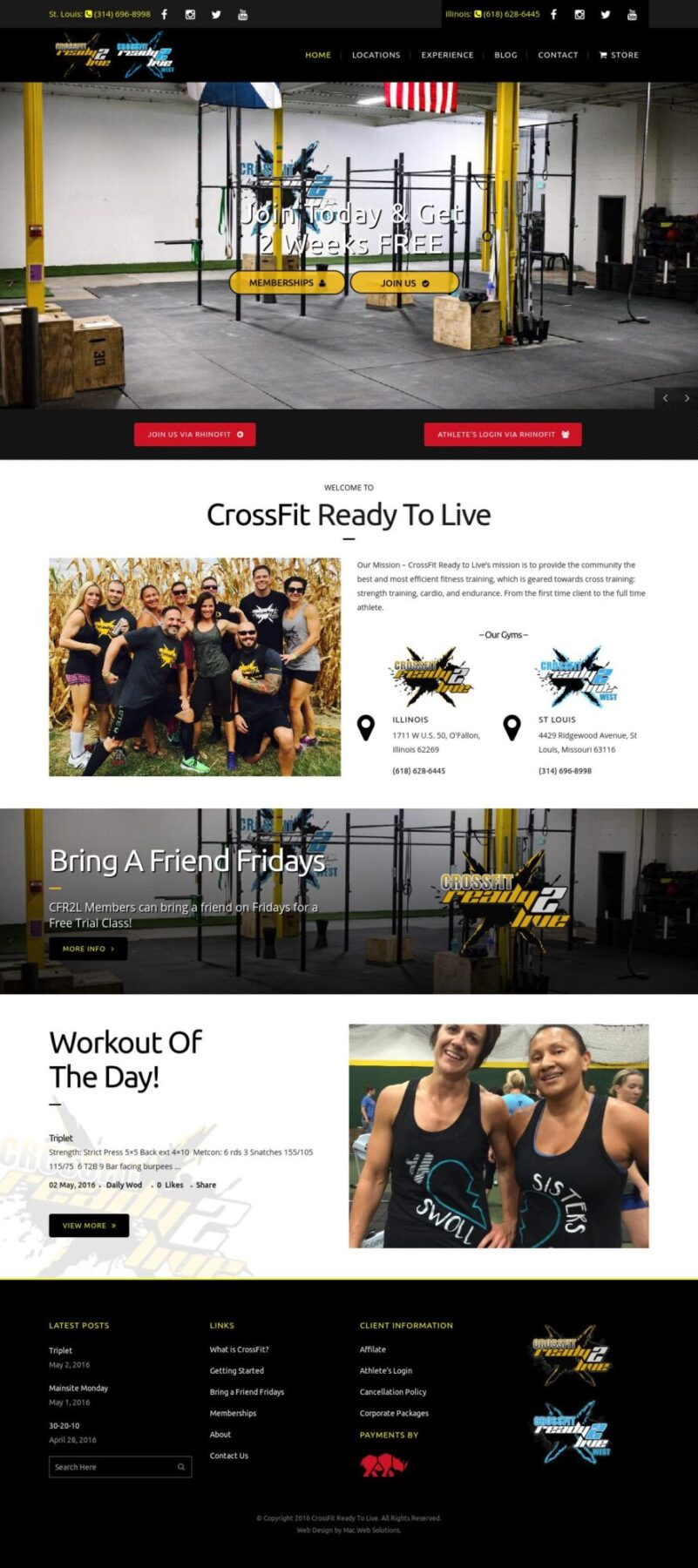 CrossFit Ready To Live website