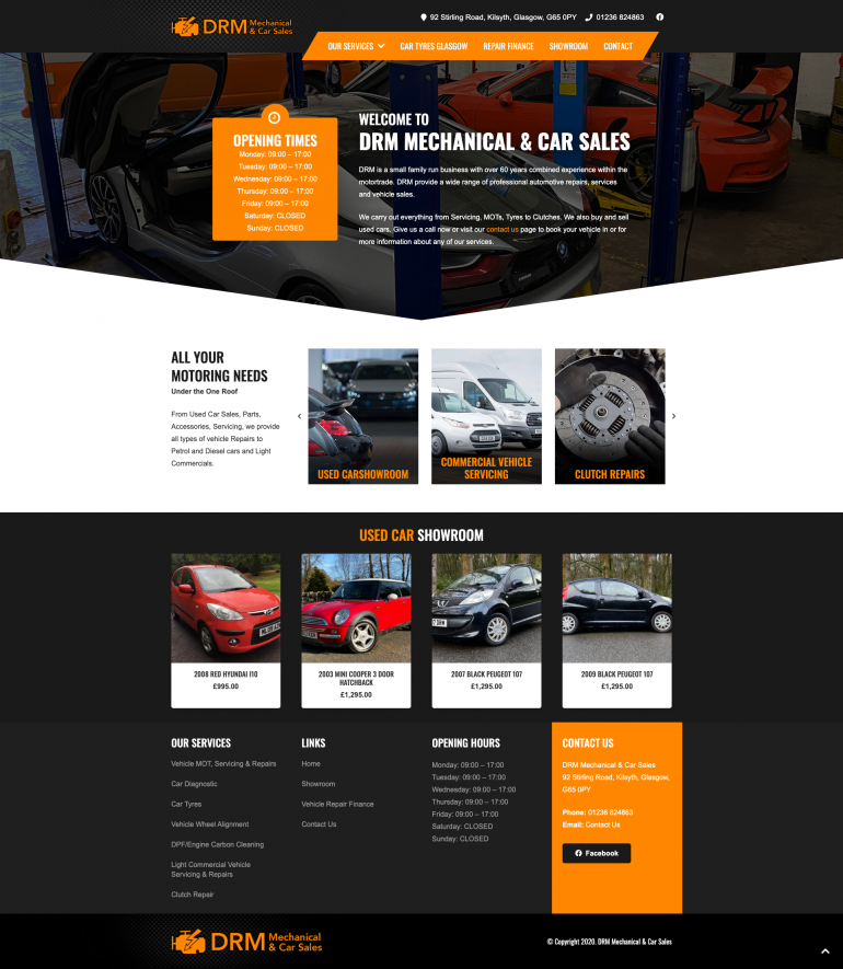 drm mechanical car sales website design