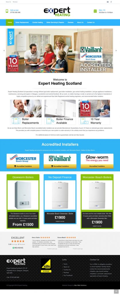 expert heating website design