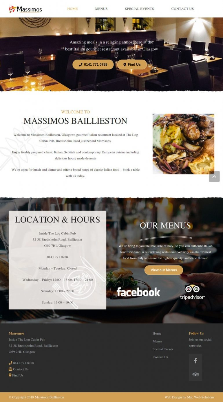 massimos website design
