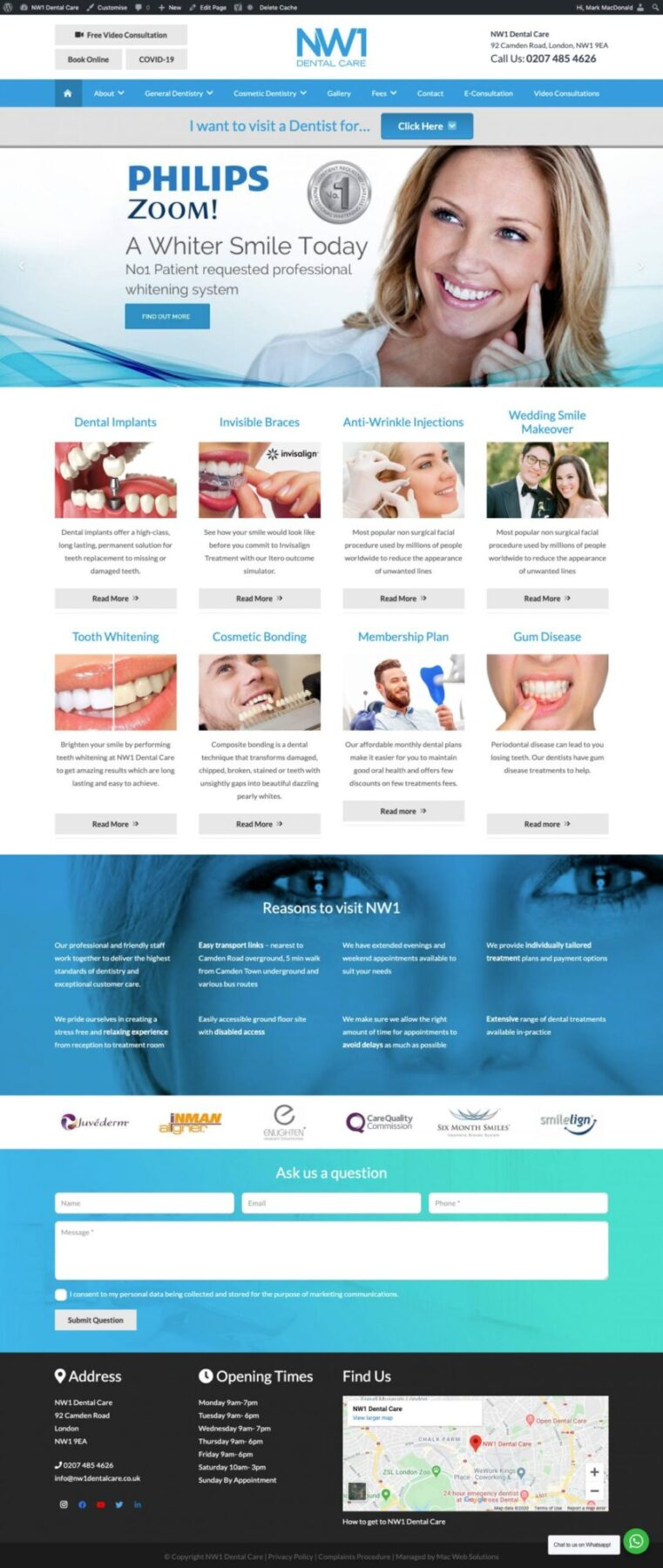 nw1 dental care website design