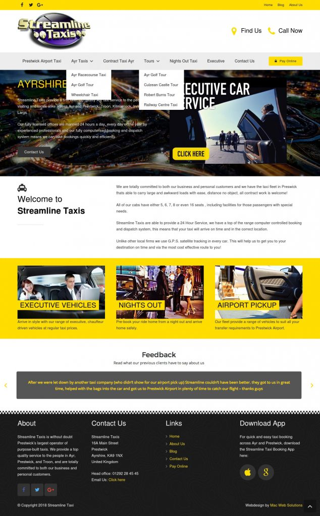 streamline taxi website design