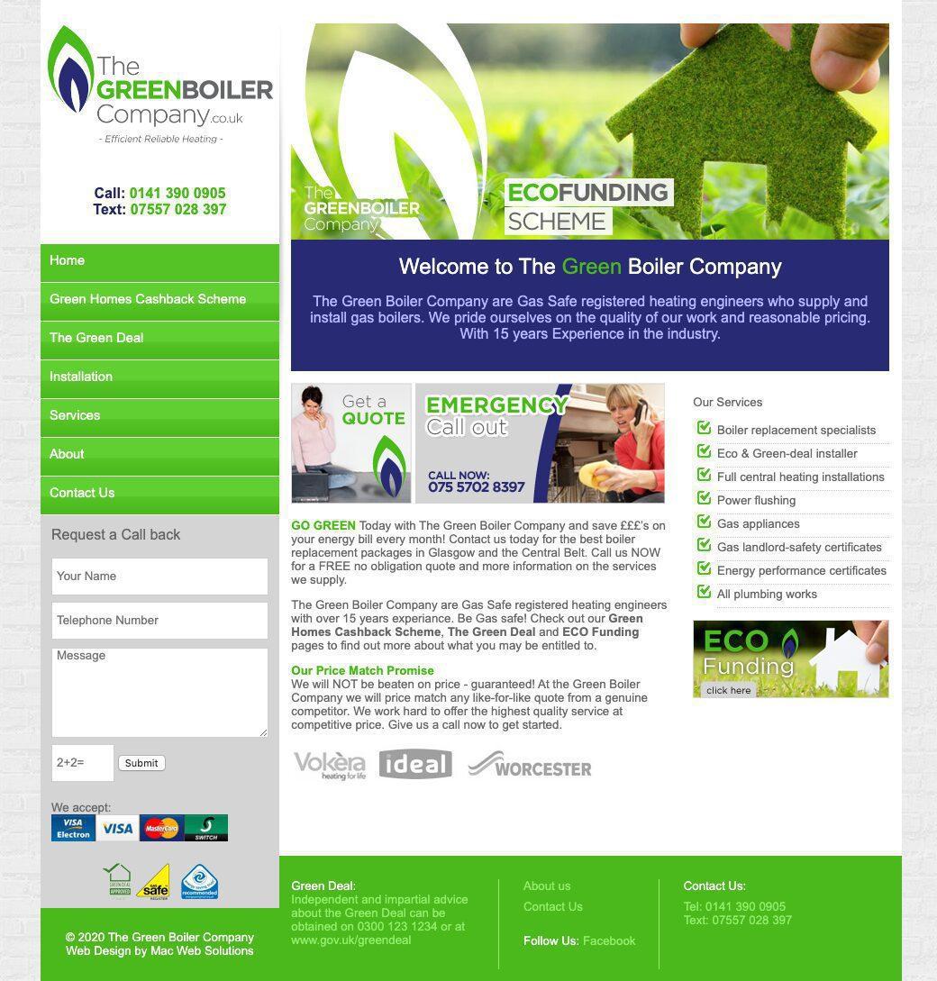 the green boiler company website design