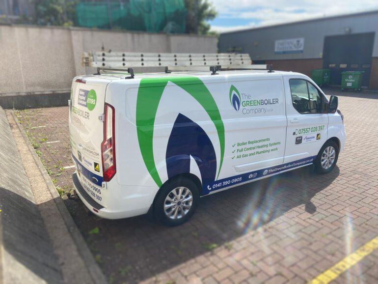 the green bolier company van wrap 2021