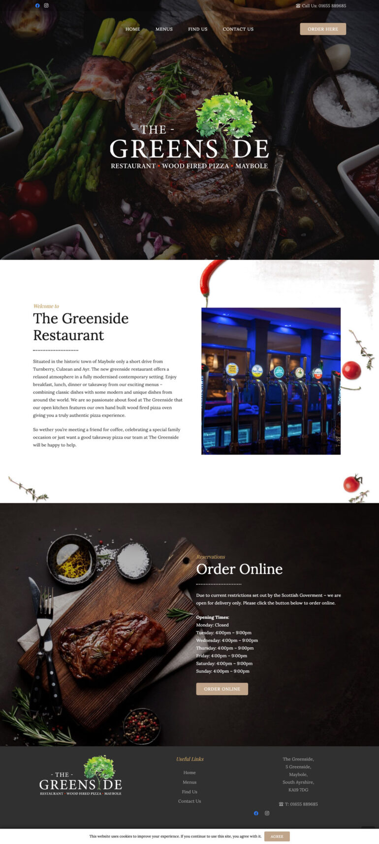 the greenside restaurant website design