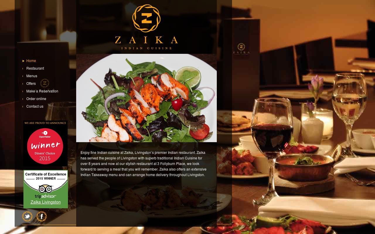 zaika restaurant website